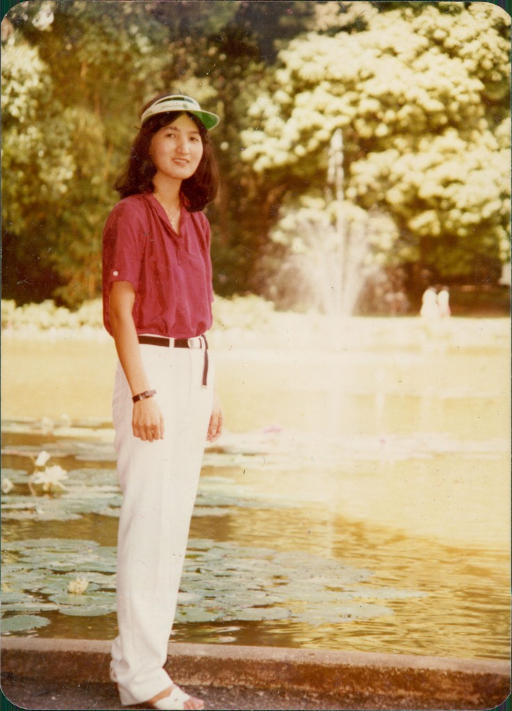 By the fountain at the Botanical Gardens - a rare stand-alone portrait of Wei Keong's mother.