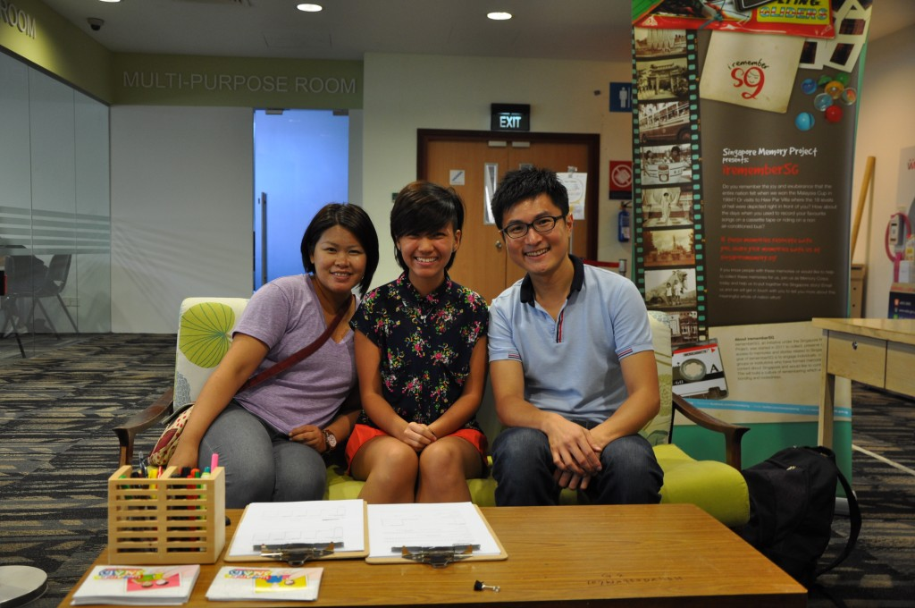The SG Snaps team (from left) Gracie, Stacy and Wei Keong at the cozy booth on the second floor of Toa Payoh Community Library. Photo: SG Snaps