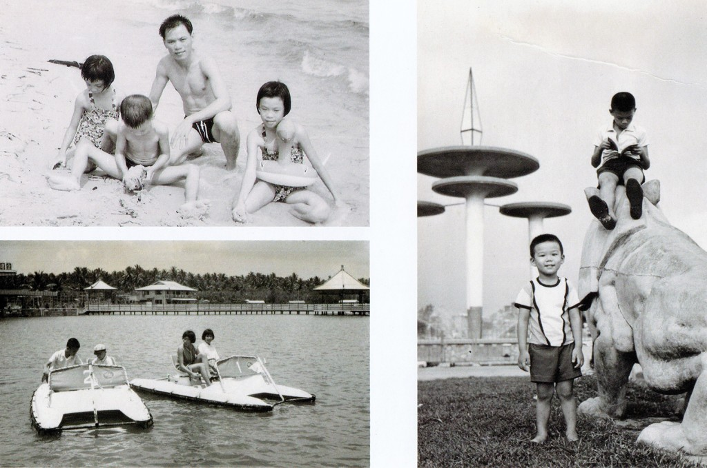 Top and bottom left: Changi Beach and Golden Palace Holiday Resort (金宫水上游乐场). Right: Kallang Park